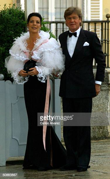 Princess Caroline and husband Prince Ernst August of Hanover arrives to attend a gala dinner at El Pardo Royal Palace on May 21 2004 in Madrid Spain...