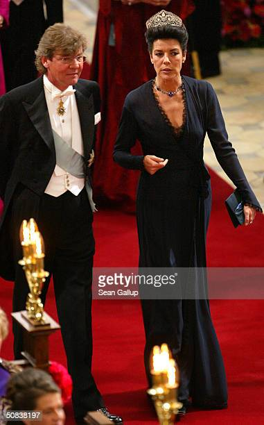 Princess Caroline and husband Prince Ernst August of Hanover attend the wedding between Danish Crown Prince Frederik and Miss Mary Elizabeth...