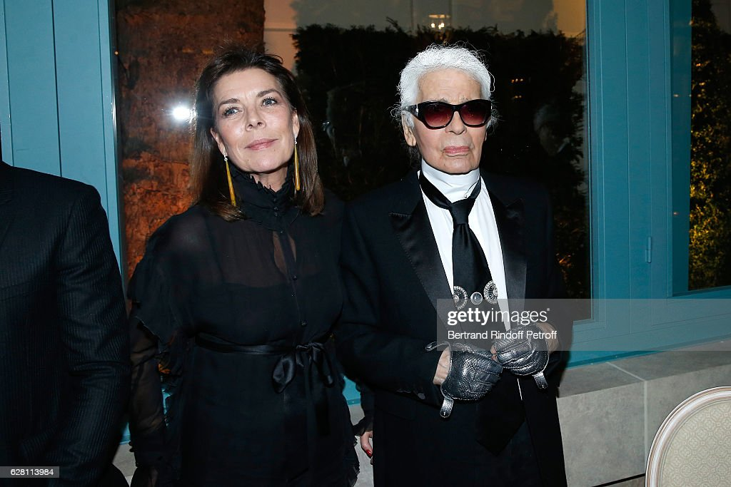 Princess Caroline de Hanovre and stylist Karl Lagerfeld attend the 'Chanel Collection des Metiers d'Art 2016/17 : Paris Cosmopolite'