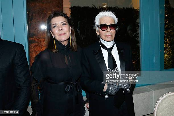 Princess Caroline de Hanovre and stylist Karl Lagerfeld attend the 'Chanel Collection des Metiers d'Art 2016/17 Paris Cosmopolite' Show at Hotel Ritz...