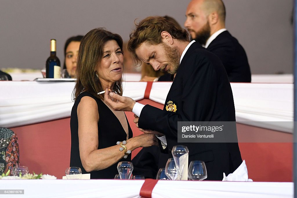 Princess Caroline of Hanover and <a gi-track='captionPersonalityLinkClicked' href=/galleries/search?phrase=Andrea+Casiraghi&family=editorial&specificpeople=213711 ng-click='$event.stopPropagation()'>Andrea Casiraghi</a> attend Longines Global Champions Tour of Monaco on June 24, 2016 in Monaco, Monaco.