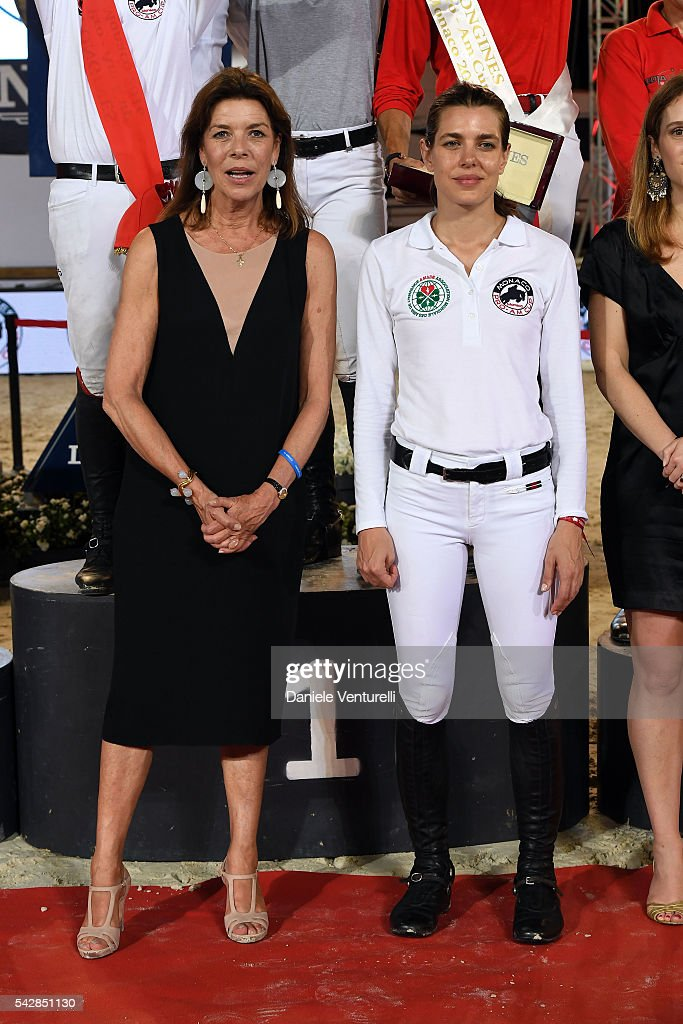 Princess Caroline of Hanover and <a gi-track='captionPersonalityLinkClicked' href=/galleries/search?phrase=Charlotte+Casiraghi&family=editorial&specificpeople=206874 ng-click='$event.stopPropagation()'>Charlotte Casiraghi</a> attend Longines Global Champions Tour of Monaco on June 24, 2016 in Monaco, Monaco.