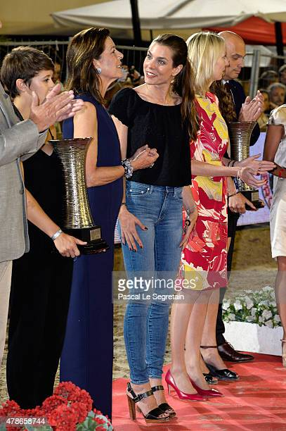 Princess Caroline of Hanover and Charlotte Casiraghi attend the award ceremony of the Longines ProAm Cup Monaco during the 10th International...