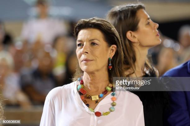 Princess Caroline of Hanover and Charlotte Casiraghi attend the podium ceremony of the Jumping International of Monaco horse jumping competition as...