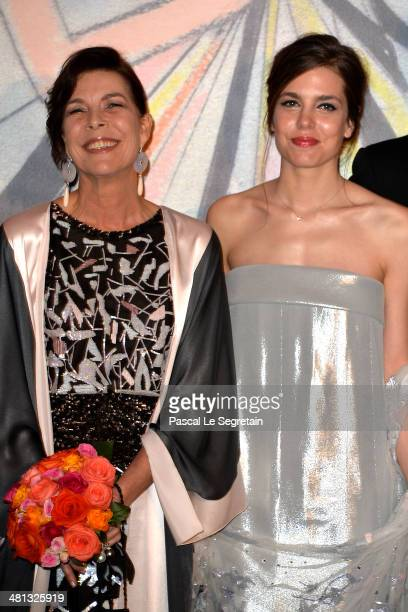 Princess Caroline of Hanover and Charlotte Casiraghi attend the Rose Ball 2014 in aid of the Princess Grace Foundation at Sporting MonteCarlo on...