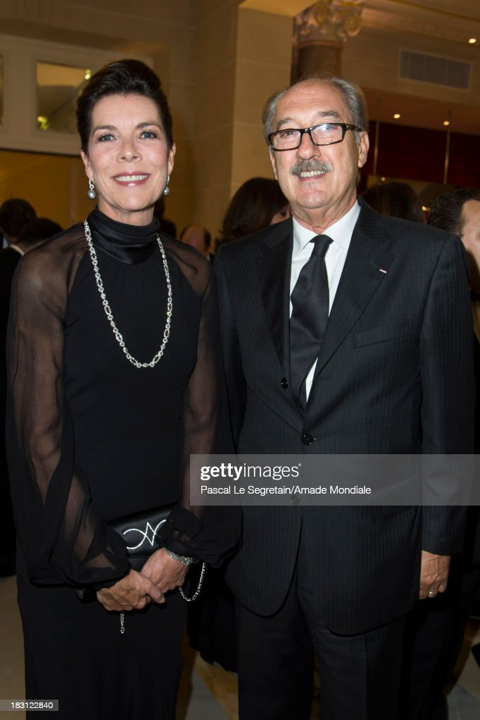 Princess Caroline of Hanover and Claudio Senzioni, Secretary General of AMADE Italy, attend the AMADE MONDIALE 50th anniversary Gala Dinner at Hotel Hermitage on October 4, 2013 in Monaco, Monaco.