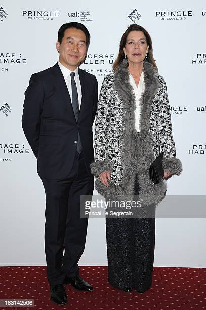 Princess Caroline of Hanover and Douglas Fang attend the Pringle Of Scotland Archive Collection Presentation as part of Paris Fashion Week at Salon...