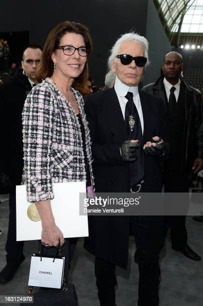 Princess Caroline of Hanover and German fashion designer Karl Lagerfeld for Chanel attend the Chanel Fall/Winter 2013 ReadytoWear show as part of...