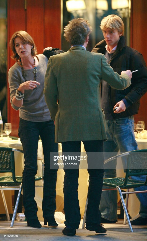 Princess Caroline of Hanover and husband Prince Ernest of Hanover sighting having lunch with her sons Prince Andrea and Prince <a gi-track='captionPersonalityLinkClicked' href=/galleries/search?phrase=Pierre+Casiraghi&family=editorial&specificpeople=238946 ng-click='$event.stopPropagation()'>Pierre Casiraghi</a> at Cipriani restaurant in SOHO on October 26 2007 in New York City