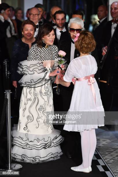 Princess Caroline of Hanover and Karl Lagerfeld arrive at the Rose Ball 2017 To Benefit The Princess Grace Foundation at Sporting MonteCarlo on March...
