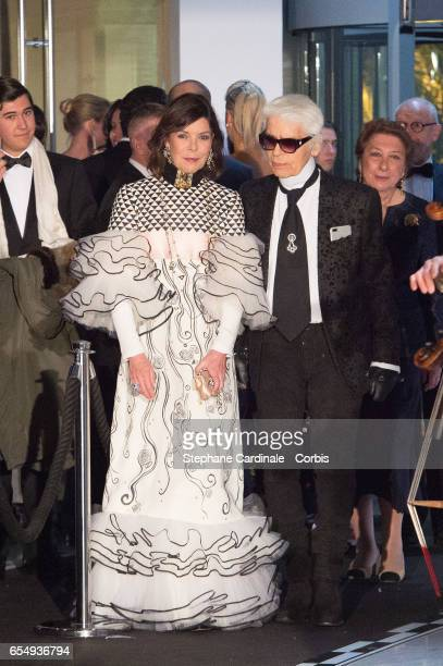 Princess Caroline of Hanover and Karl Lagerfeld attend the Rose Ball 2017 To Benefit The Princess Grace Foundation at Sporting MonteCarlo on March 18...