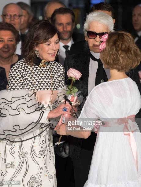 Princess Caroline of Hanover and Karl Lagerfeld attend the Rose Ball 2017 Secession Viennoise To Benefit The Princess Grace Foundation at Sporting...