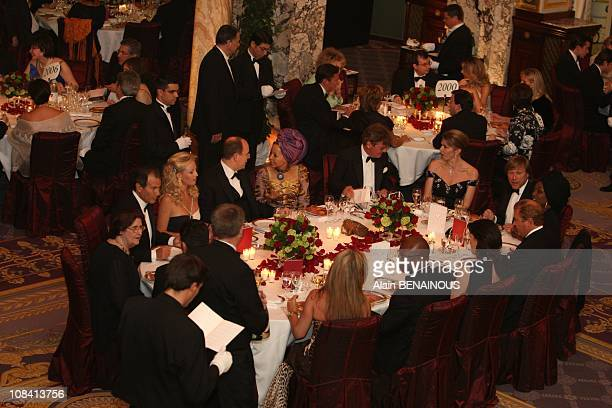 Princess Caroline of Hanover and Prince Albert II at the Gala for the 45th birthday of AMADE at the Hotel of Paris in Monte Carlo Monaco on April...