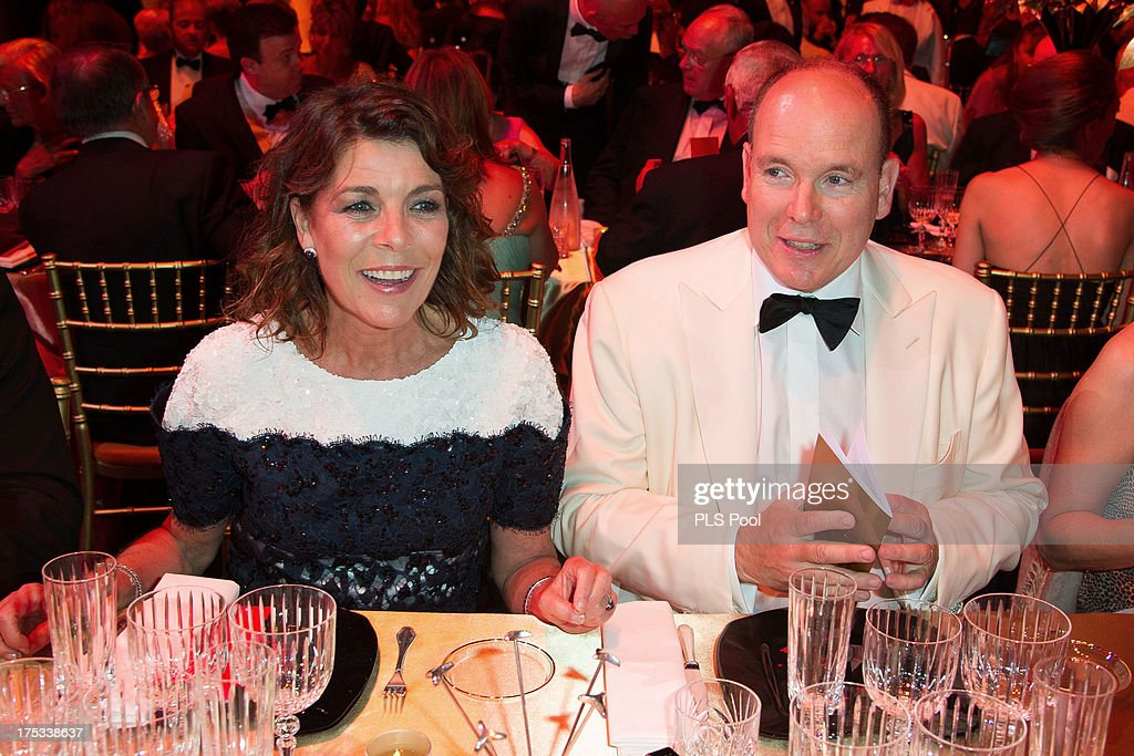 Princess Caroline of Hanover and <a gi-track='captionPersonalityLinkClicked' href=/galleries/search?phrase=Prince+Albert+II+of+Monaco&family=editorial&specificpeople=201707 ng-click='$event.stopPropagation()'>Prince Albert II of Monaco</a> attend the 65th Monaco Red Cross Ball Gala at Sporting Monte-Carlo on August 2, 2013 in Monte-Carlo, Monaco.