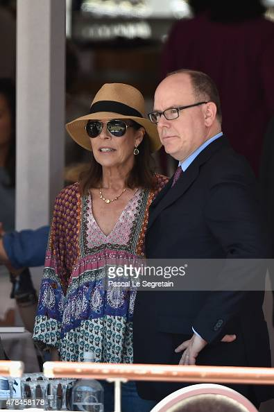 Princess Caroline of Hanover and Prince Albert II of Monaco attend the special invitational competition of the Longines Global Champions Tour of...