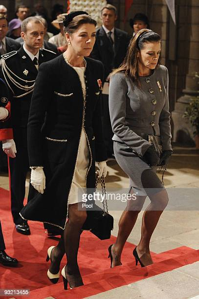 Princess Caroline of Hanover and Princess Stephanie of Monaco arrive at the Cathedral to attend the annual traditional Thanksgiving Mass as part of...