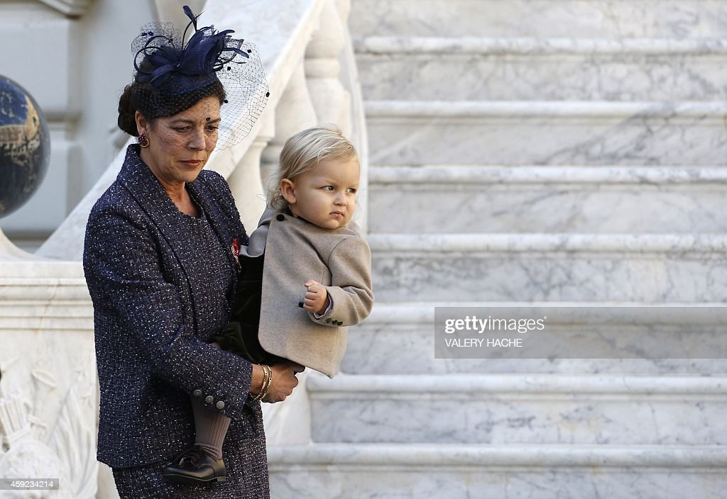Princess Caroline of Hanover and Sacha Casiraghi attend in Monaco Palace the celebrations marking Monaco's National Day on November 19 2014 in Monaco...