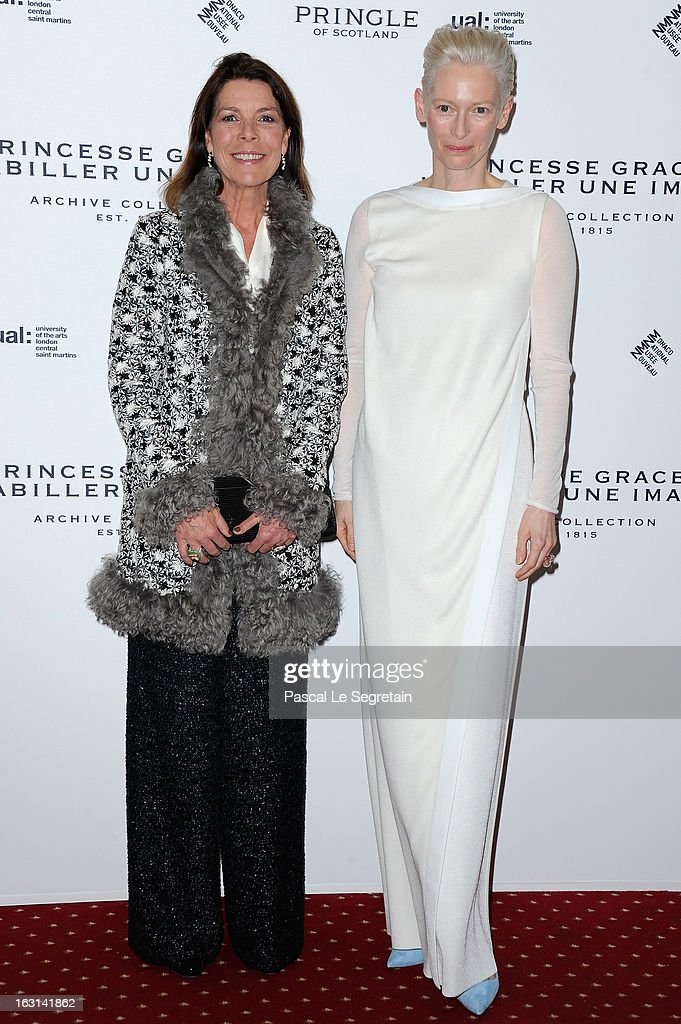 Princess Caroline of Hanover and Tilda Swinton attend the Pringle Of Scotland Archive Collection Presentation as part of Paris Fashion Week at Salon France-Ameriques on March 5, 2013 in Paris, France.