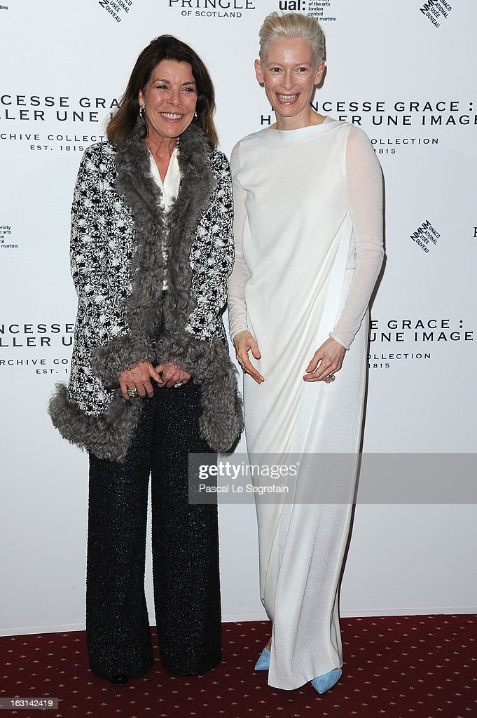 Princess Caroline of Hanover and <a gi-track='captionPersonalityLinkClicked' href=/galleries/search?phrase=Tilda+Swinton&family=editorial&specificpeople=202991 ng-click='$event.stopPropagation()'>Tilda Swinton</a> attend the Pringle Of Scotland Archive Collection Presentation as part of Paris Fashion Week at Salon France-Ameriques on March 5, 2013 in Paris, France.