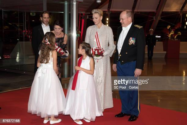 Princess Caroline of Hanover Andrea Casiraghi Princess Charlene of Monaco and Prince Albert II of Monaco arrive at the Monaco National Day Gala in...