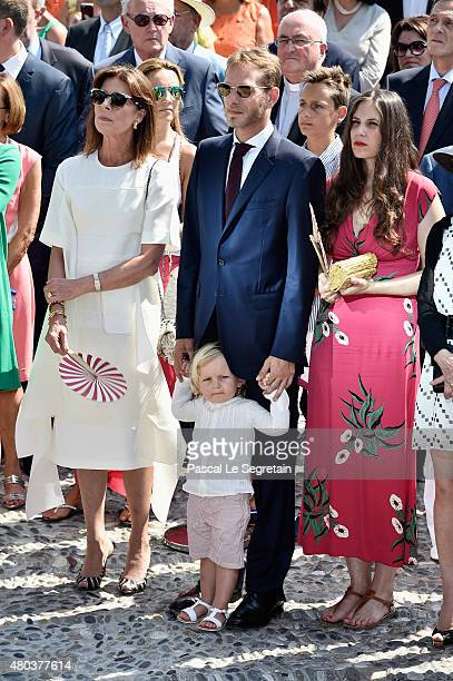 Princess Caroline of Hanover Andrea Casiraghi with Sasha Casiraghi and Tatiana Casiraghi attend the First Day of the 10th Anniversary on the Throne...