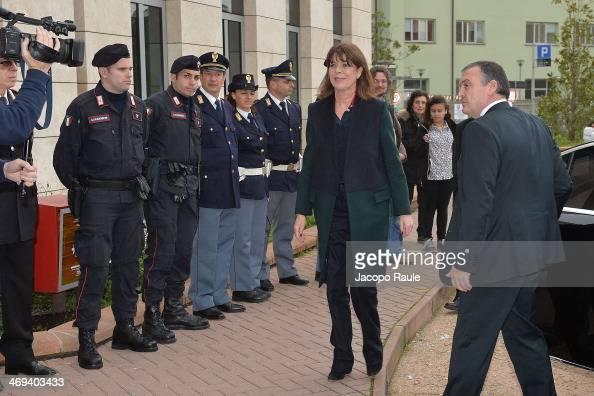 Princess Caroline Of Hanover arrives at Hospital Gaslini on February 14 2014 in Genoa Italy