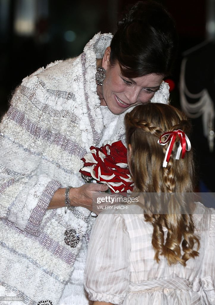 Princess Caroline of Hanover arrives for a gala during celebrations marking Monaco's National Day in Monaco on November 19 2014 AFP PHOTO / POOL /...