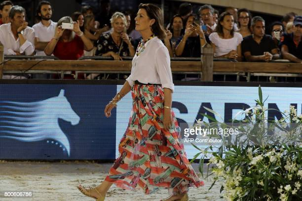 Princess Caroline of Hanover arrives for the podium ceremony of the 'Grand Prix Prince de Monaco' during the 2017 edition of the Jumping...