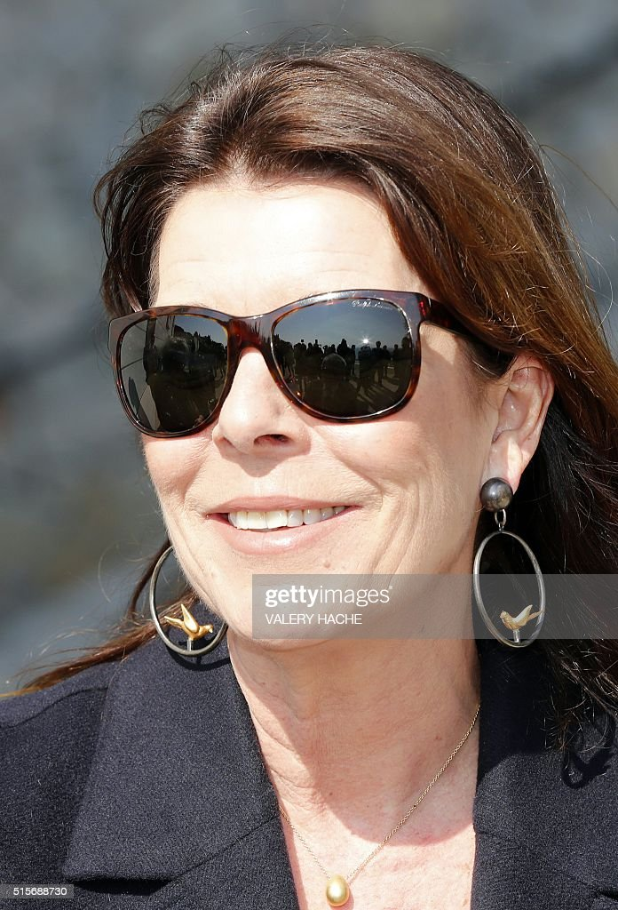 Princess Caroline of Hanover arrives to visit the'Duane Hanson' exhibition at the 'Nouveau Musée National de Monaco' in Monaco on March 15, 2016. / AFP / VALERY