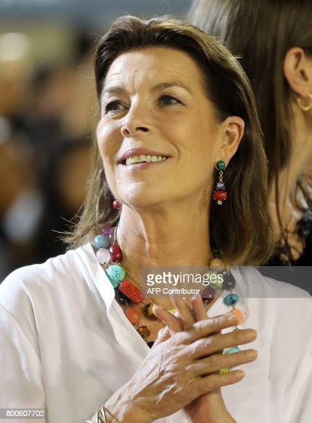 princess Caroline of Hanover attends a ceremony during the 2017 edition of the Jumping International of Monaco horse jumping competition as part of...