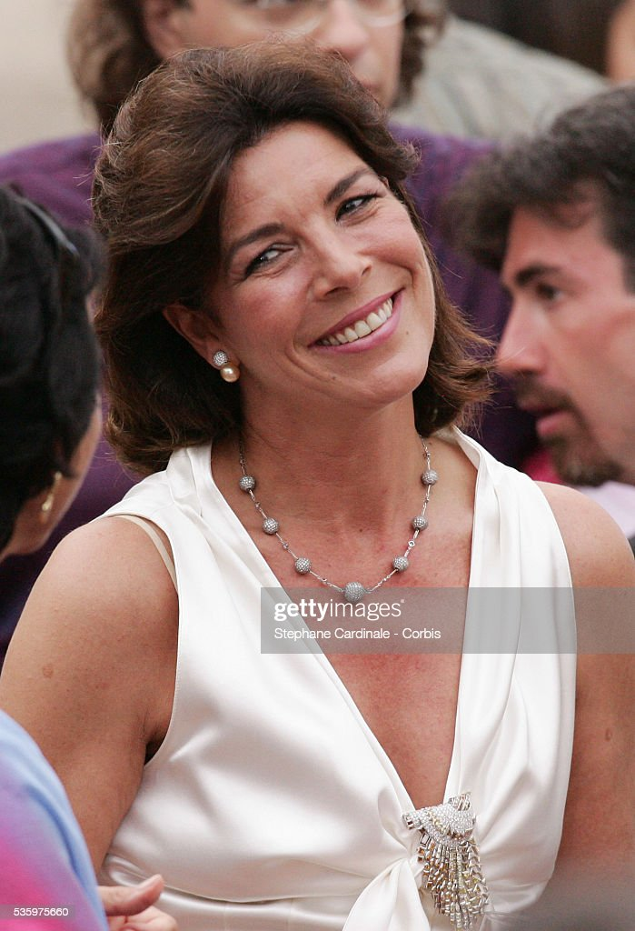 Princess Caroline of Hanover attends Prince Albert II's key ceremony following his coronation mass held in the morning.