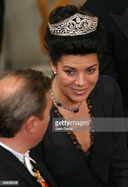 Princess Caroline of Hanover attends the wedding between Danish Crown Prince Frederik and Miss Mary Elizabeth Donaldson at Copenhagen Cathedral on...