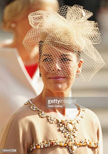 Princess Caroline of Hanover attends the wedding ceremony of Prince Guillaume Of Luxembourg and Princess Stephanie of Luxembourg at the Cathedral of...