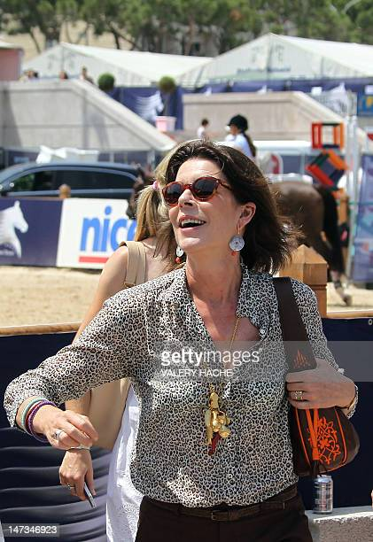 Princess Caroline of Hanover Charlotte Casiraghi is seen during a training session prior to the 17th International MonteCarlo Jumping event on June...