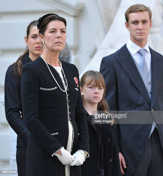 Princess Caroline of Hanover Charlotte Casiraghi Princess Alexandra of Hanover and Pierre Casiraghi attend the Award Ceremony for badges of rank and...