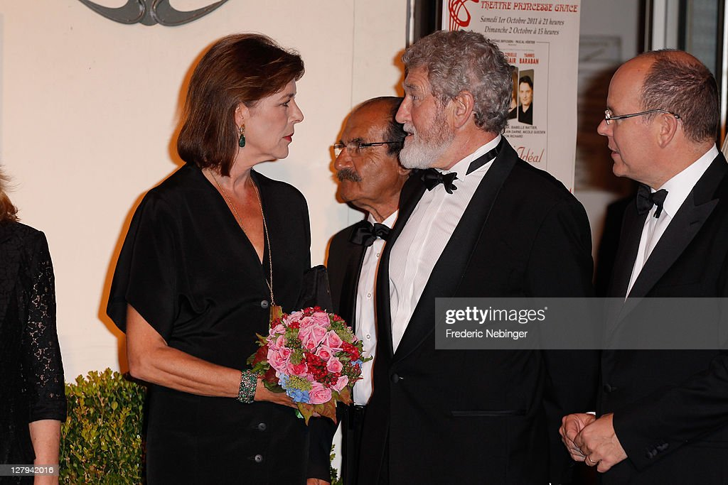 SAS Princess Caroline of Hanover, french actor Patrick Prejean and SAS <a gi-track='captionPersonalityLinkClicked' href=/galleries/search?phrase=Prince+Albert+II+of+Monaco&family=editorial&specificpeople=201707 ng-click='$event.stopPropagation()'>Prince Albert II of Monaco</a> attend the Theatre Princesse Grace 30th Anniversary Celebration at Theatre Princesse Grace on October 3, 2011 in Monaco, Monaco.