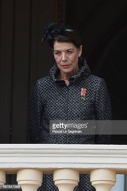 Princess Caroline of Hanover greets the crowd from the palace's balcony during the Monaco National Day Celebrations on November 19 2015 in Monaco...