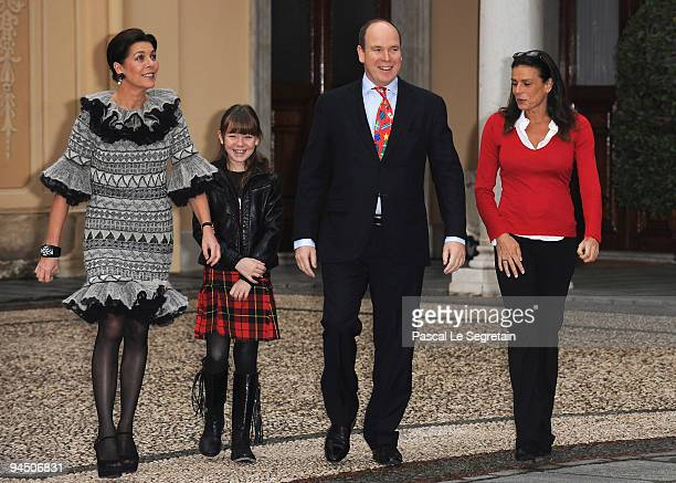 Princess Caroline of Hanover her daughter Princess Alexandra of Hanover Prince Albert II of Monaco and Princess Stephanie of Monaco arrive to attend...
