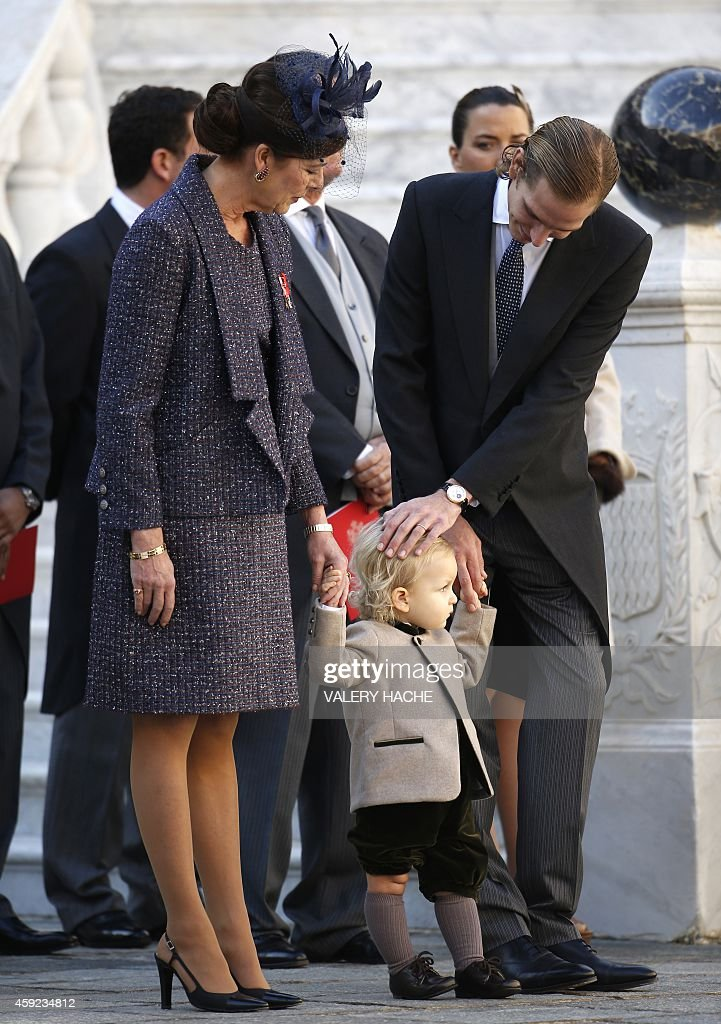 Princess Caroline of Hanover her grandson Sacha Casiraghi and Andrea Casiraghi attend in Monaco Palace the celebrations marking Monaco's National Day...