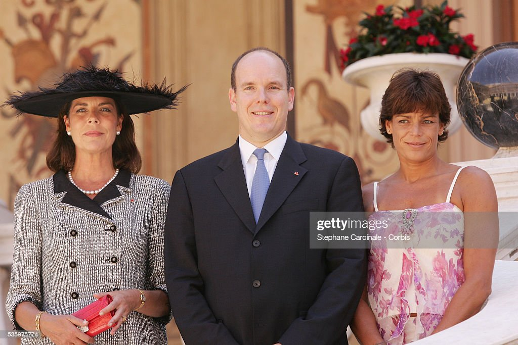 Princess Caroline of Hanover, HRH Prince Albert II of Monaco and Princess Stephanie of Monaco pose for an official photograph following brother Prince Albert II's enthronement ceremony in Monaco Cathedral on July 12, 2005. Prince Albert II, 47, took over as ruler of the principality following the death of his father, Prince Rainier in April.