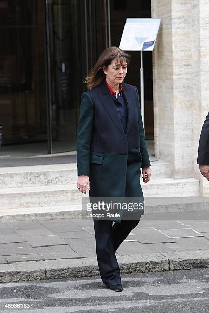 Princess Caroline of Hanover is seen leaving Melia Hotel on February 14 2014 in Genoa Italy