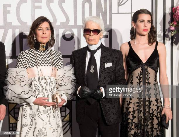Princess Caroline of Hanover Karl Lagerfeld and Charlotte Casiraghi attend the Rose Ball 2017 Secession Viennoise To Benefit The Princess Grace...