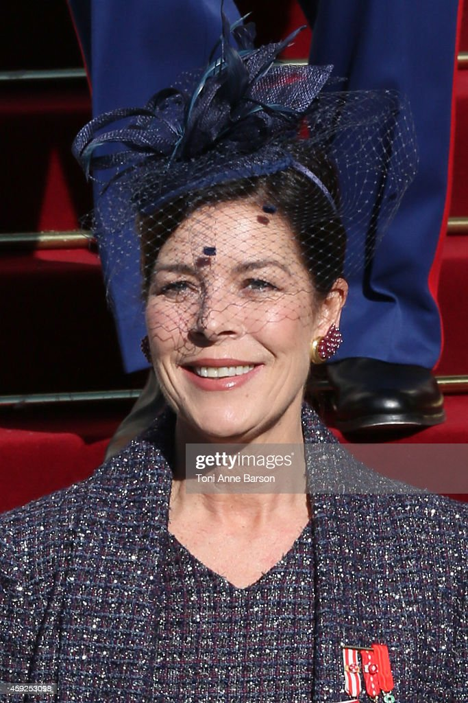 Princess Caroline of Hanover leaves the Cathedral of Monaco after a mass during the official ceremonies for the Monaco National Day at Cathedrale Notre-Dame-Immaculee de Monaco as part of Monaco National Day Celebrations on November 19, 2014 in Monaco, Monaco.