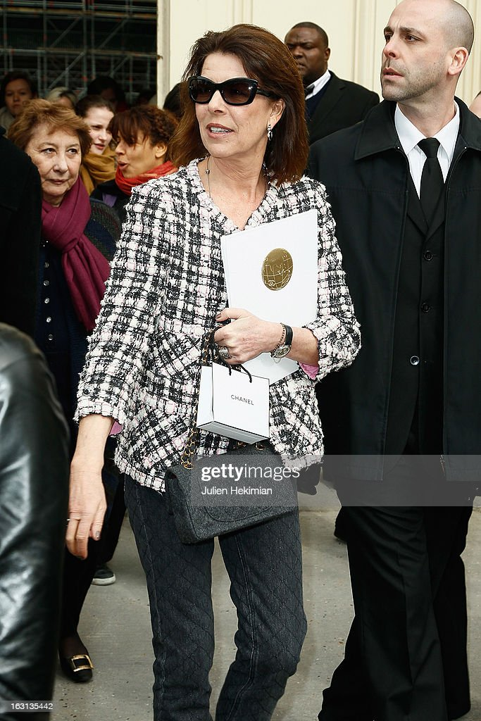 Princess Caroline of Hanover leaves the Chanel Fall/Winter 2013 Ready-to-Wear show as part of Paris Fashion Week at Grand Palais on March 5, 2013 in Paris, France.