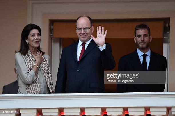 Princess Caroline of Hanover Prince Albert II of Monaco and Andrea Casiraghi attend the 'Fete de la St Jean' procession on June 24 2015 in Monaco...