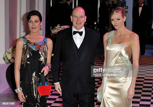Princess Caroline of Hanover Prince Albert II of Monaco and Charlene Wittstock arrive to attend the Monte Carlo Morocco Rose Ball 2010 held at the...