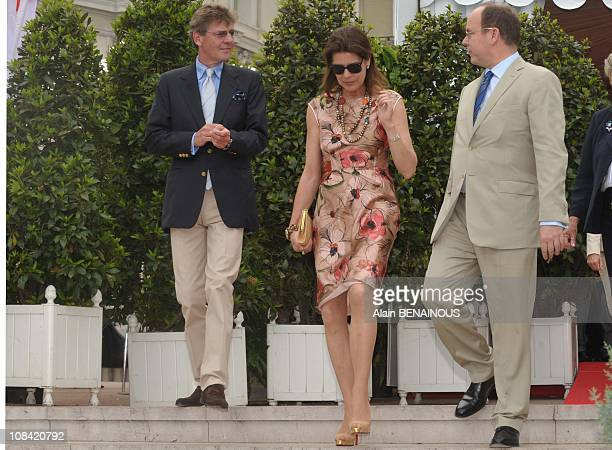 Princess Caroline of Hanover Prince Albert II of Monaco and Ernst August of Hanover at the 42nd Annual Monaco Bouquet Contest in Monte Carlo Monaco...
