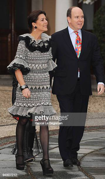 Princess Caroline of Hanover Prince Albert II of Monaco arrive to attend Christmas Tree party at Monaco Palace on December 16 2009 in Monaco Monaco