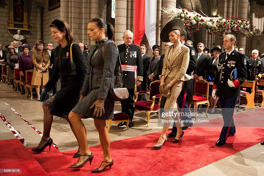 Princess Caroline of Hanover, Princess Stephanie of Monaco and Charlene Wittstock arrive at the Cathedral before attending the annual traditional Thanksgiving Mass as part of Monaco National Day celebrations on November 19, 2010 in Monaco