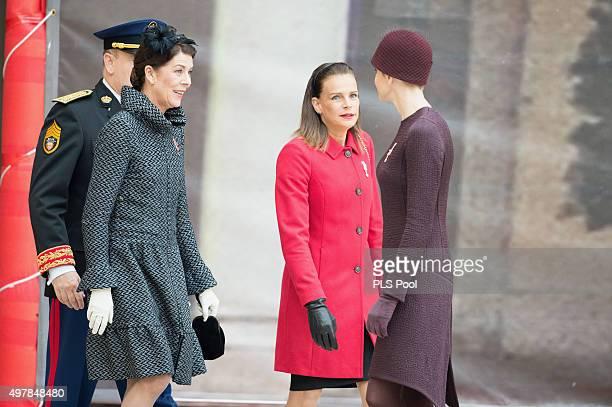 Princess Caroline of Hanover Princess Stephanie of Monaco and Princess Charlene of Monaco attend the Monaco National Day Celebrations on November 19...